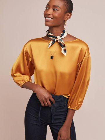 חולצת סאטן עם שרוולי 3/4 נפוחים Hutch של ANTHROPOLOGIE
