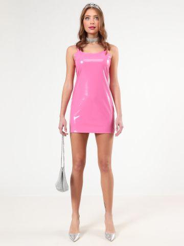 שמלת מיני ויניל ורודה / תחפושת בובה של TERMINAL X