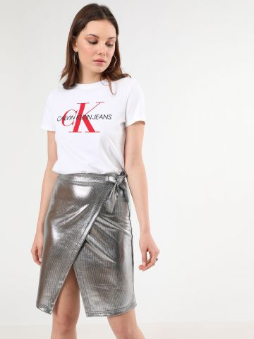 חצאית מעטפת מידי בגימור מטאלי של TERMINAL X