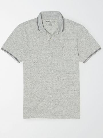 חולצת פולו מלאנז' עם רקמת לוגו / גברים של AMERICAN EAGLE