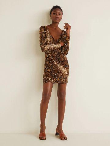 שמלת מיני בהדפס נחש של MANGO