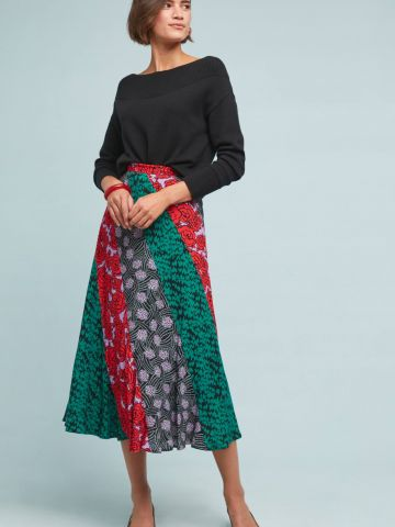 חצאית מידי בהדפס מולטי קולור Maeve של ANTHROPOLOGIE