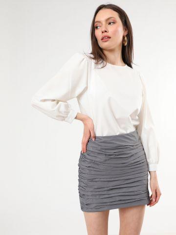 חצאית מיני עם כיווצי בד של TERMINAL X