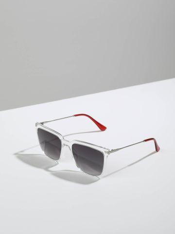 משקפי שמש מרובעים עם מסגרת פלסטיק Gatwick של QUESTION MARK