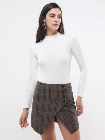 חצאית מיני משבצות עם שסע של TERMINAL X