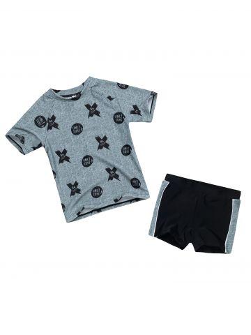 בגד ים שני חלקים עם הדפס איקס עיגול / בייבי בנים של FOX