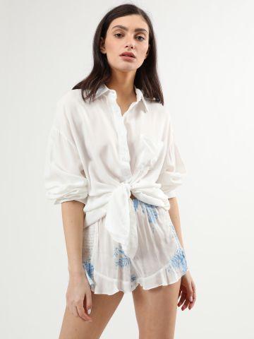 מכנסיים קצרים בהדפס עלים עם סיומת מלמלה של TERMINAL X