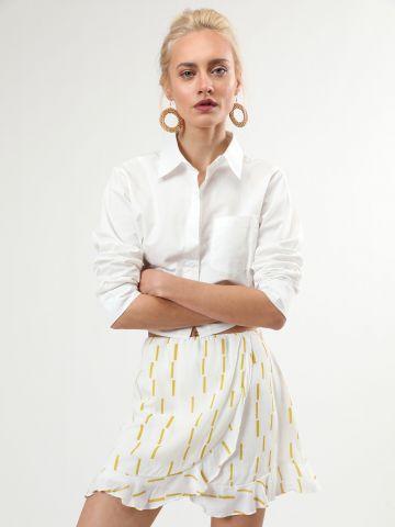 חצאית פפלום מיני בהדפס מלבנים של TERMINAL X