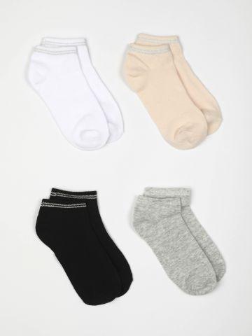 מארז 4 זוגות גרביים נמוכים עם פסי לורקס / בנות של FOX