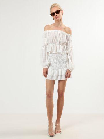 חצאית כיווצים מיני עם סיומת פפלום של TERMINAL X