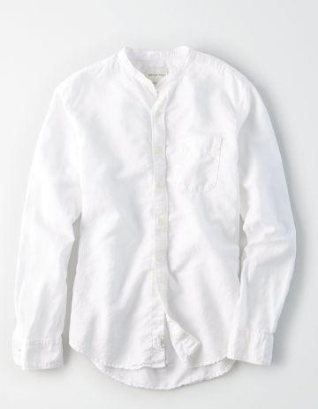 חולצת פשתן מכופתרת של AMERICAN EAGLE