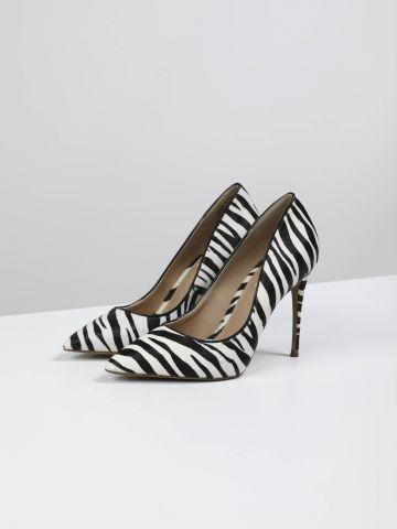 נעלי עקב סטילטו מעור בסגנון זברה של STEVE MADDEN