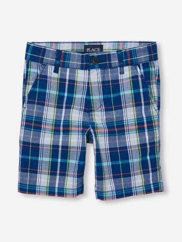 מכנסי צ'ינו קצרים בהדפס משבצות / בנים של THE CHILDREN'S PLACE