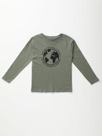 טי שירט שרוולים ארוכים עם הדפס כדור הארץ / בנים של TERMINAL X KIDS