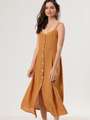שמלת פשתן מקסי עם כפתורים וקפלים של TERMINAL X