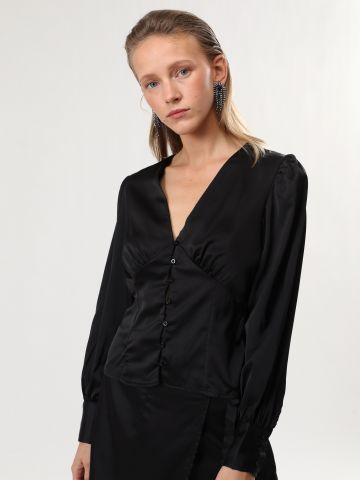 חולצת סאטן עם כפתורים של TERMINAL X