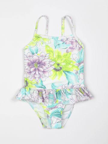 בגד ים שלם בהדפס פרחים עם עיטור מלמלה / בנות של TERMINAL X KIDS