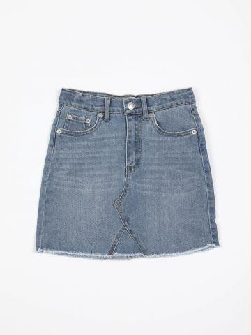 חצאית ג'ינס מיני עם סיומת פרומה / בנות של LEVIS