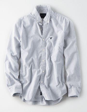 חולצה מכופתרת בהדפס פסים עם כיס לוגו / גברים של AMERICAN EAGLE