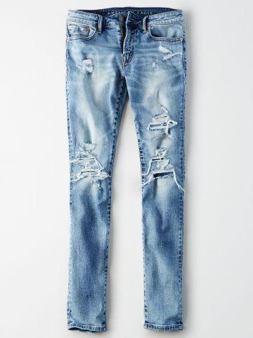ג'ינס סקיני בשטיפה בהירה עם קרעים Skinny / גברים של AMERICAN EAGLE