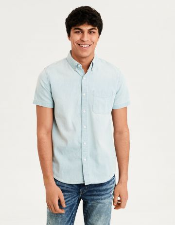 חולצת ג'ינס בשטיפה בהירה של AMERICAN EAGLE