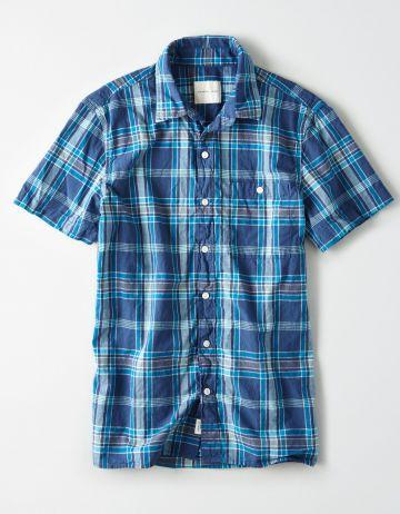 חולצה מכופתרת בהדפס משבצות\ גברים של AMERICAN EAGLE