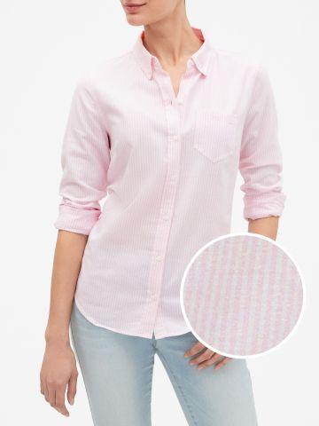 חולצה מכופתרת בהדפס פסים עם כיס של GAP