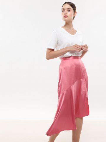 חצאית סאטן מידי אסימטרית של NEON ROSE