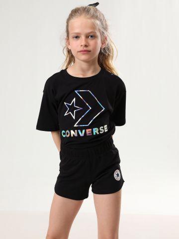 מכנסיים קצרים עם הדפס לוגו של CONVERSE