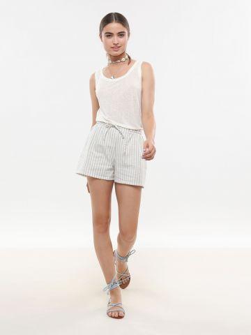 מכנסי פשתן קצרים בהדפס פסים של FRIDAYS PROJECT