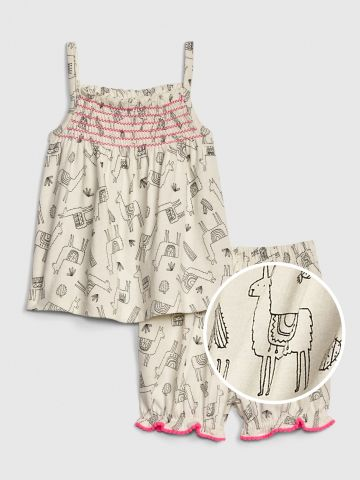 סט גופייה ומכנסיים קצרים בהדפס אלפקות / בייבי בנות של GAP