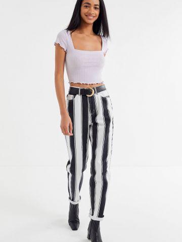 ג'ינס MOM בהדפס פסים BDG של URBAN OUTFITTERS