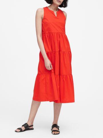 שמלת מידי שכבות עם מפתח וי של BANANA REPUBLIC
