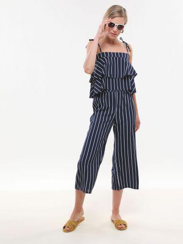 מכנסי קרופ בהדפס פסים של YANGA