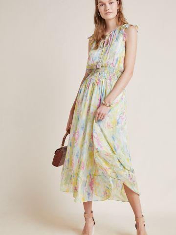 שמלת מלמלה מקסי בהדפס צבעוני של ANTHROPOLOGIE