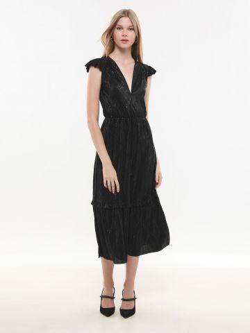 שמלת פליסה מקסי באפקט גליטר X שושיין של YANGA