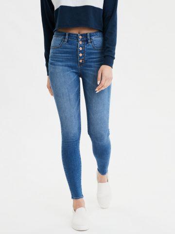 ג'ינס סקיני סטרץ' בשטיפה כהה עם הלבנה Super High Rise Jegging של AMERICAN EAGLE