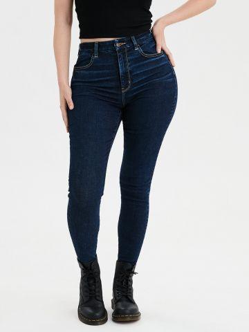 ג'ינס Curvy ארוך בשטיפה כהה Super High Rise Jegging של AMERICAN EAGLE