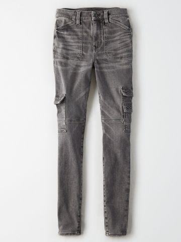 ג'ינס סקיני סטרץ' עם כיסים Super High Rise Jegging של AMERICAN EAGLE