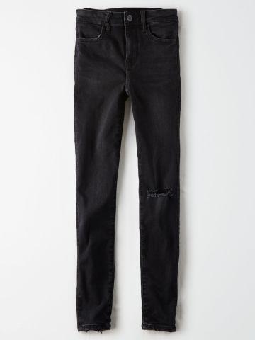 ג'ינס סטרץ' בגזרה גבוהה עם קרעים JEGGING / נשים של AMERICAN EAGLE