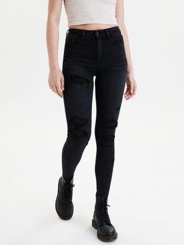 ג'ינס סטרץ' בגזרה גבוהה עם קרעים JEGGING של AMERICAN EAGLE