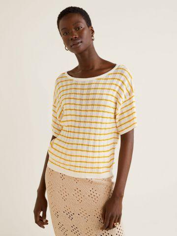 חולצת סריג ריב בהדפס פסים של MANGO