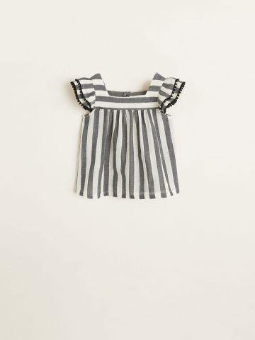 חולצה בהדפס פסים עם שרוולי מלמלה / בייבי בנות של MANGO