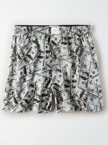 תחתוני בוקסר בהדפס דולר / גברים של AMERICAN EAGLE