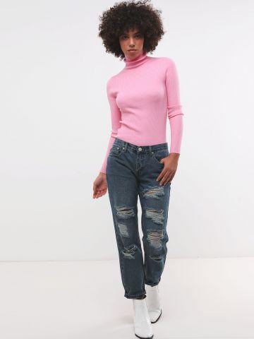ג'ינס MOM עם עיטורי קרעים של GLAMOROUS