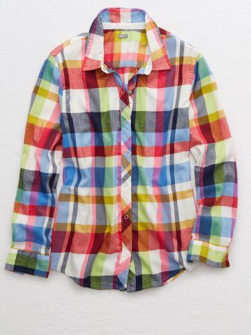 חולצת ניאון פלאנל מכופתרת בהדפס משבצות / נשים של AERIE