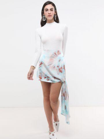 חצאית מיני טאי דאי עם קשירה של TERMINAL X