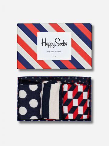 מארז 3 זוגות גרביים בהדפסים / גברים של HAPPY SOCKS