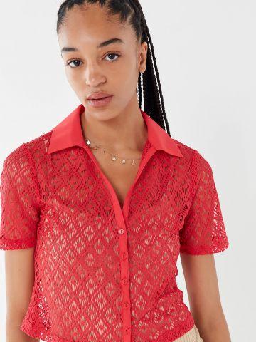 חולצת קרושה מכופתרת עם צווארון UO של URBAN OUTFITTERS