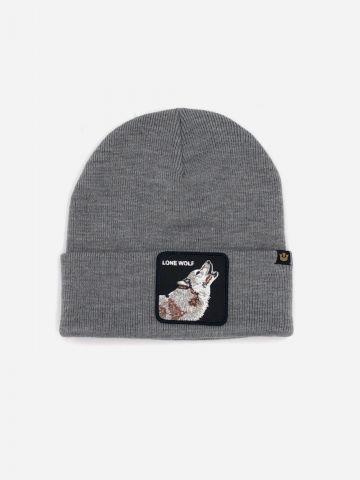 כובע גרב עם פאץ' זאב Lone wolf / גברים של GOORIN BROS